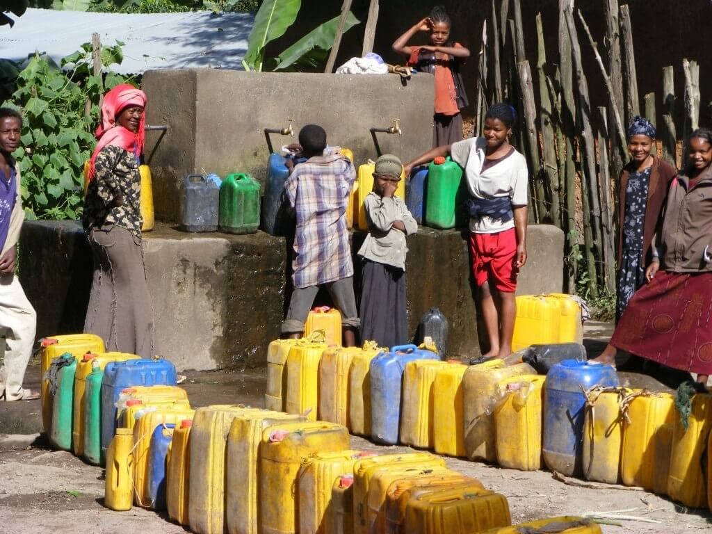 water, jerrycan, yellow containers, Ethiopia,
