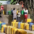 water, jerrycan, yellow containers