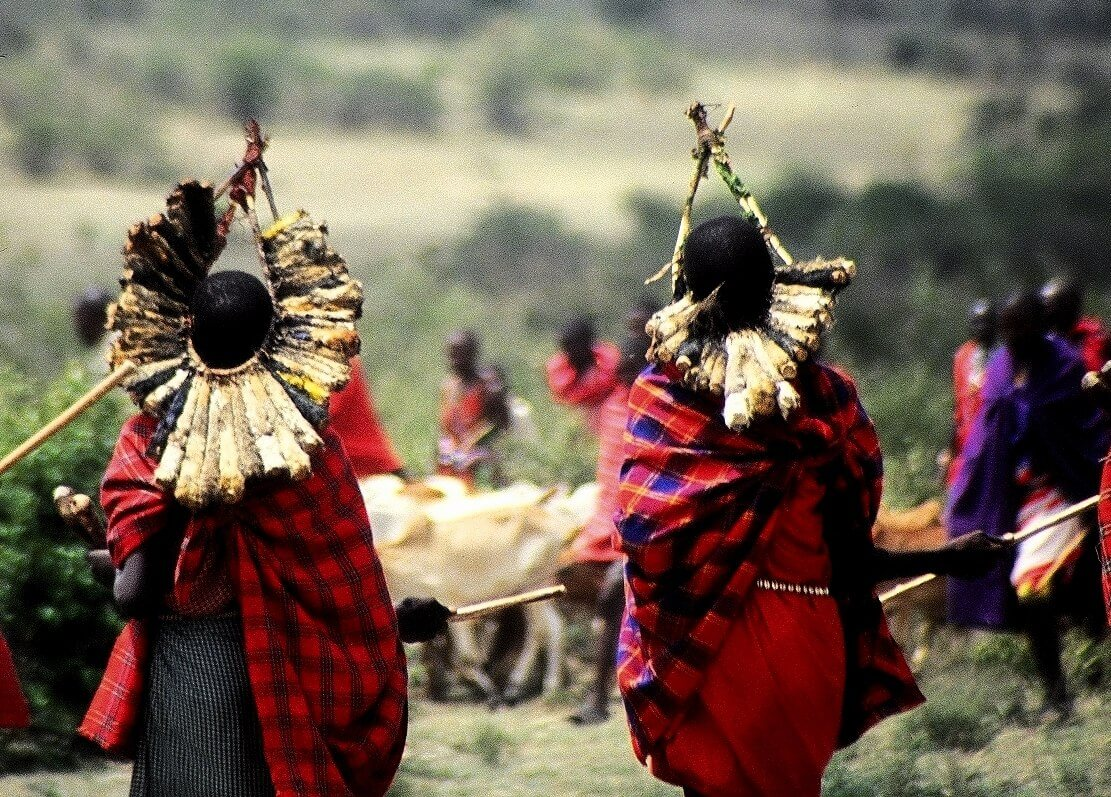 Kenya, Maasai with birds crown