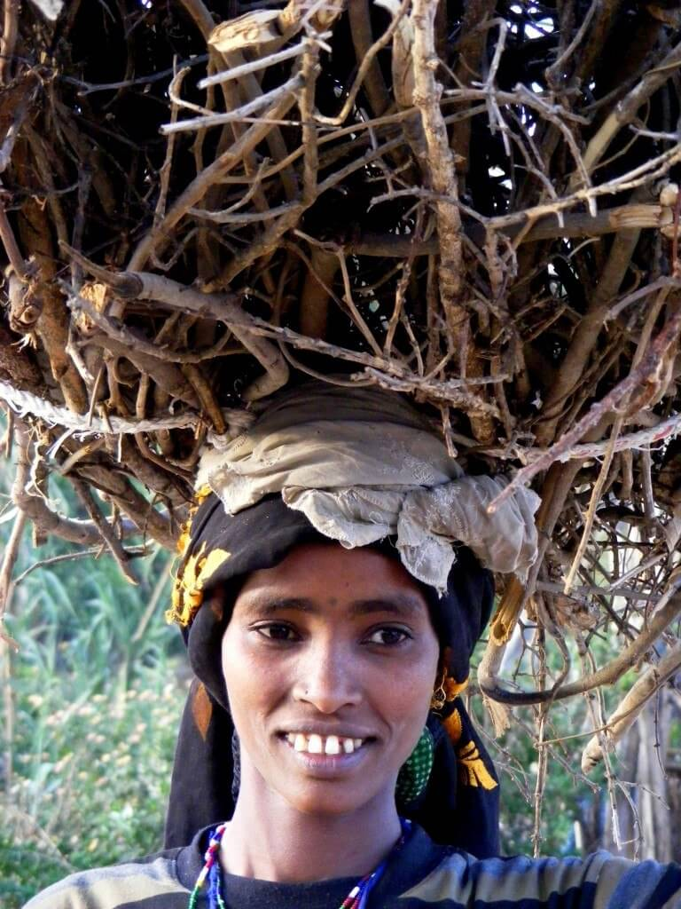 firewood, woman, smiling, carry, Ethiopia,