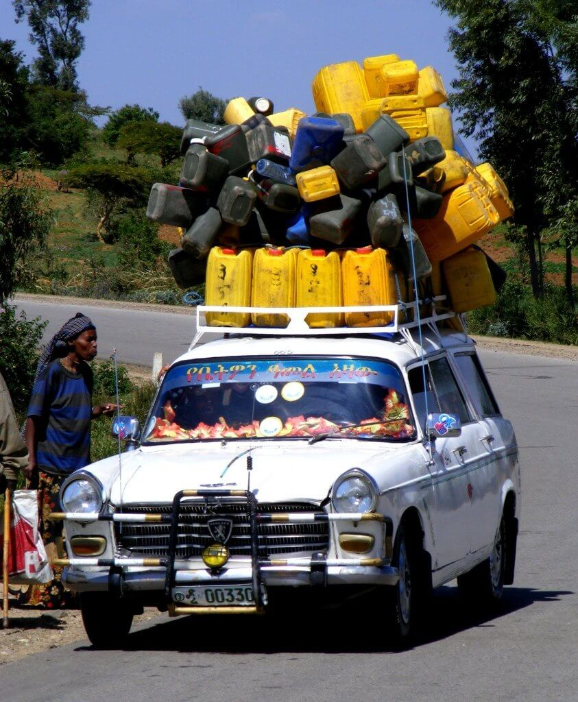 loaded, car, transport, jerrycan, yellow, Ethiopia, peugeot,