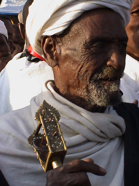 Ethiopia, Orthodox, church, abba, priest, sistrum