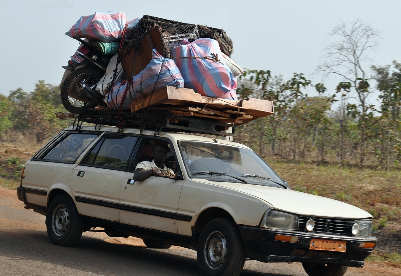 Loaded car, Benin, bush taxi,